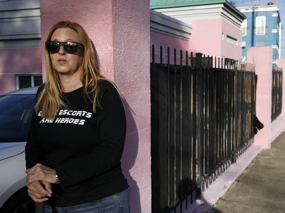 "Abortion-rights advocate Kim Gibson, a ""clinic defender,"" keeps watch at the entrance of the Jackson Women's Health Organization clinic, the only clinic providing abortions in Mississippi, last month. (Rogelio V. Solis/AP)"