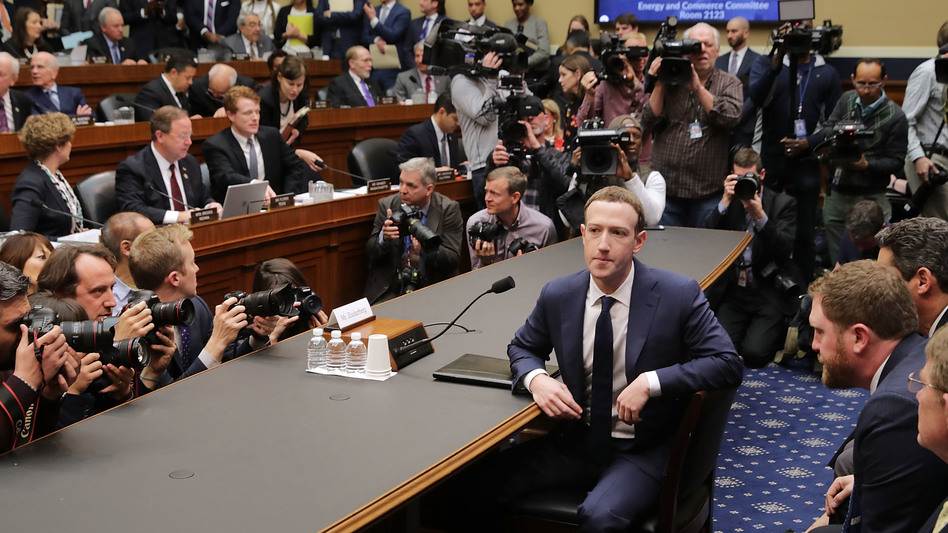 Facebook co-founder and CEO Mark Zuckerberg prepares to testify before the House Energy and Commerce Committee in the Rayburn House Office Building on Capitol Hill on Wednesday. This is the second day of testimony before Congress by Zuckerberg, 33. (Chip Somodevilla/Getty Images)