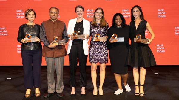 Winners of the 2018 Skoll Awards for Social Entrepreneurship (from left) are Jennifer Pahlka, Harish Hande, Jess Ladd, Lesley Marincola, Anushka Ratnayake and Barbara Pierce Bush.
