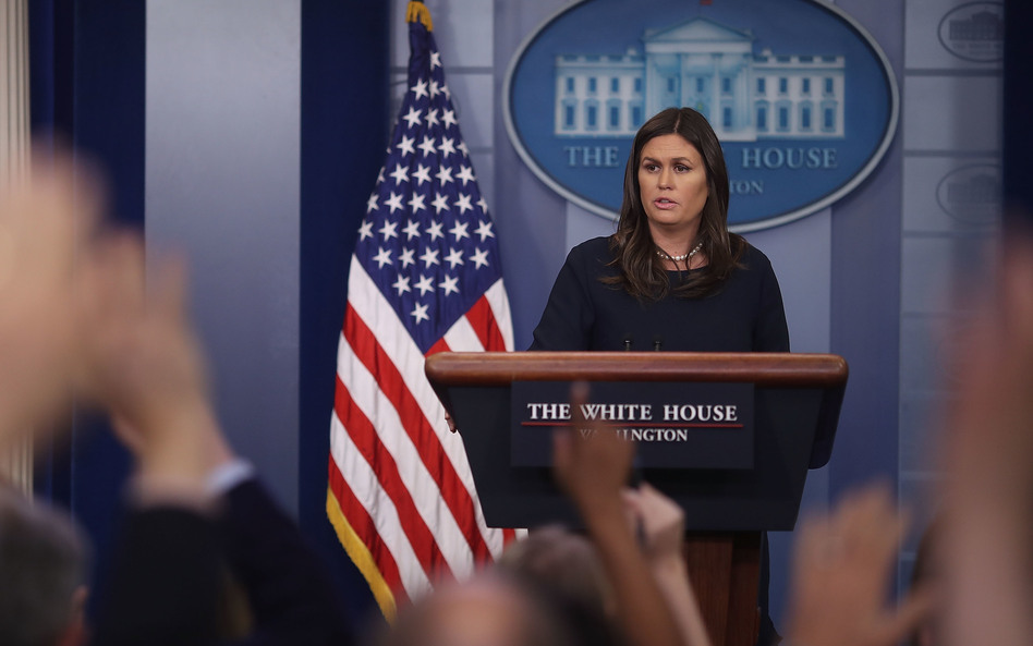 White House press secretary Sarah Sanders blasted fired FBI Director James Comey's new book at the White House briefing on Friday. (Mark Wilson/Getty Images)