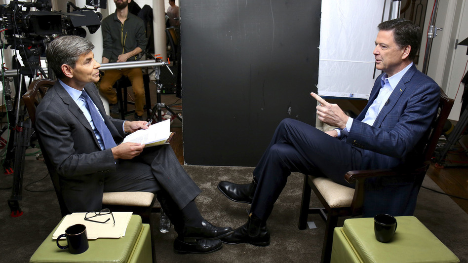 In this image released by ABC News, correspondent George Stephanopoulos (left) appears with former FBI director James Comey for a taped interview that aired during a prime-time <em>20/20</em> special on Sunday. (Ralph Alswang/AP)