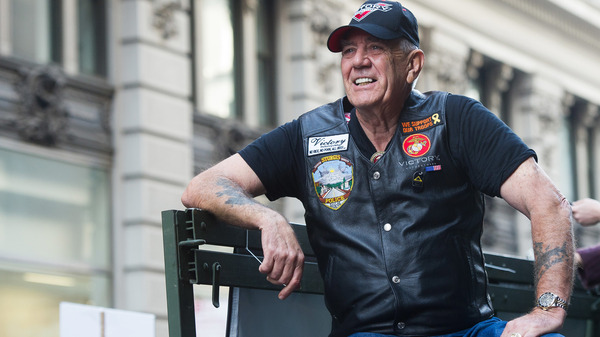 """Vietnam veteran and character actor R. Lee """"Gunny"""" Ermey joined 700 Veterans as part of the IAVA/Victory Motorcycles presence at the 2014 America's Parade in New York. Ermey died Sunday from complications of pneumonia, his manager Bill Rogin said."""
