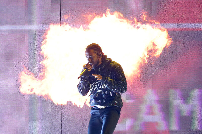 Kendrick Lamar, whose album DAMN. won this year's Pulitzer Prize for music, performs in London earlier this year. (Daniel Leal-Olivas/AFP/Getty Images)