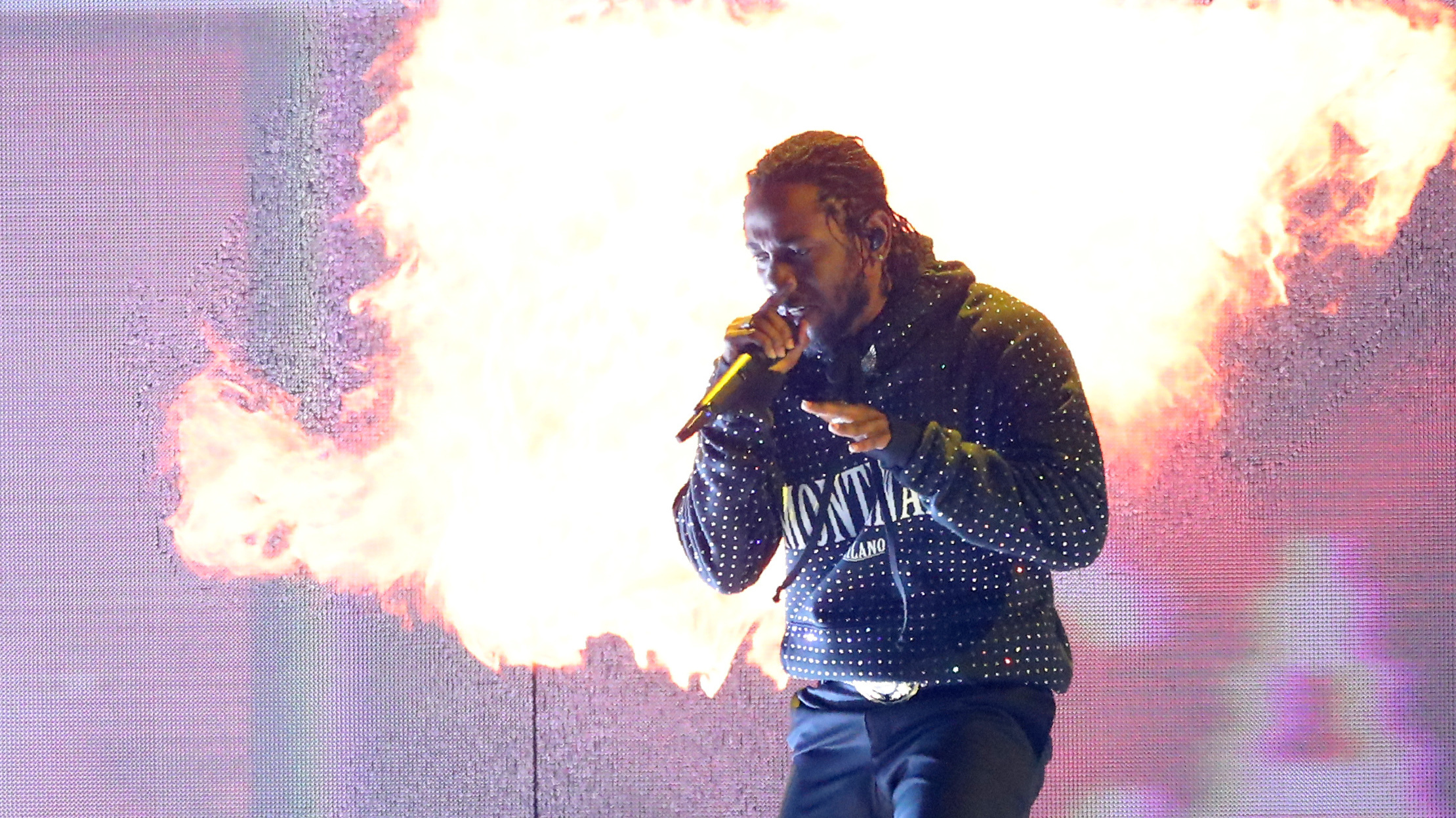 Kendrick Lamar whose album DAMN. won this year's Pulitzer Prize for music performs in London earlier this year