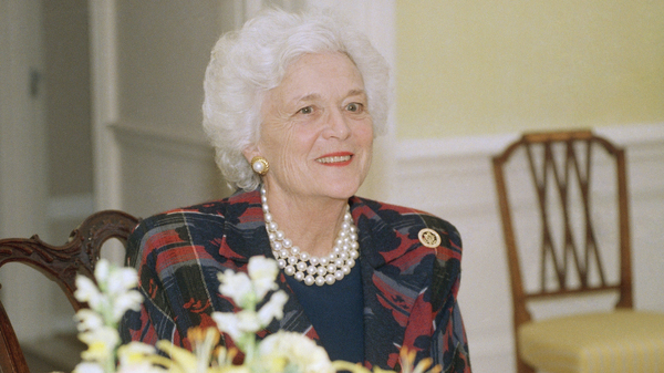 Barbara Bush (shown here at the White House in 1989) met her husband, former President George H.W. Bush, at a dance when she was 16.