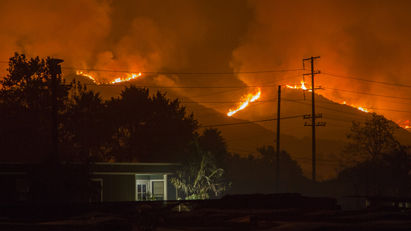 The Thomas Fire advanced toward Santa Barbara County on Dec. 10, 2017, in Carpinteria, Calif.