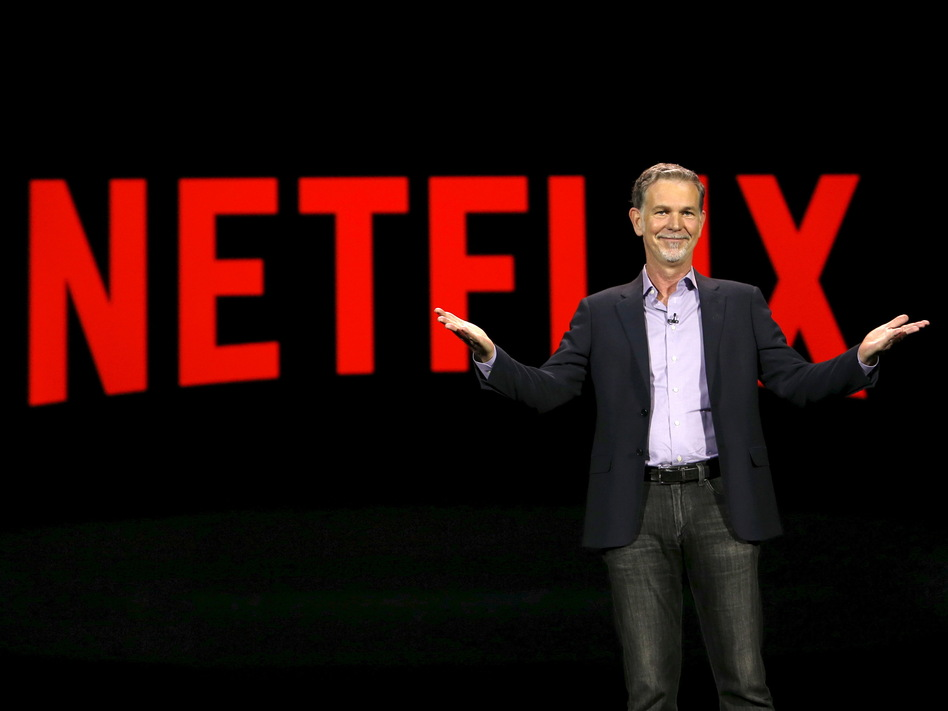 Netflix CEO Reed Hastings delivers a keynote address at the 2016 CES trade show in Las Vegas. Big entertainment rival Disney could challenge the service that made binge-watching popular. (Steve Marcus/Reuters)