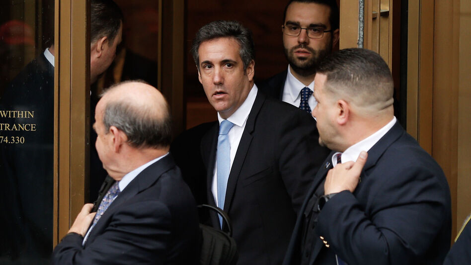 Michael Cohen leaves a federal courthouse in Manhattan on Monday, after a hearing about evidence seized during a raid of his home and office last week. Cohen has been under criminal investigation for months, according to court documents. (Eduardo Munoz Alvarez/AFP/Getty Images)