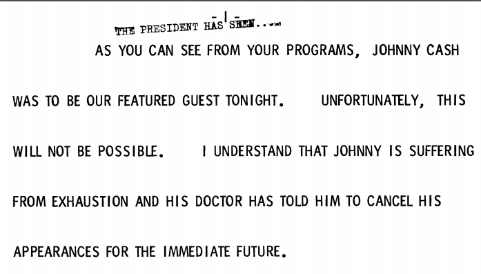 President Ford's remarks introducing Pearl Bailey and explaining why Johnny Cash was a no-show at the October 1975 state dinner. (Gerald R. Ford Presidential Library and Museum/NARA)