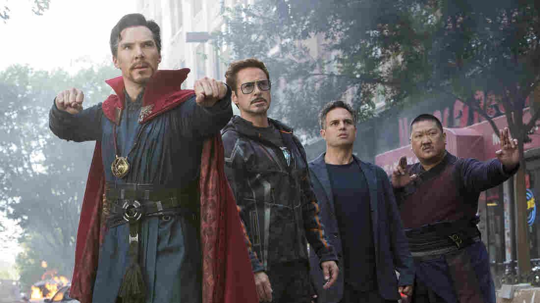 Doctor Strange (Benedict Cumberbatch), Iron Man (Robert Downey Jr.), Hulk (Mark Ruffalo) and Wong (Benedict Wong) in Avengers: Infinity War.