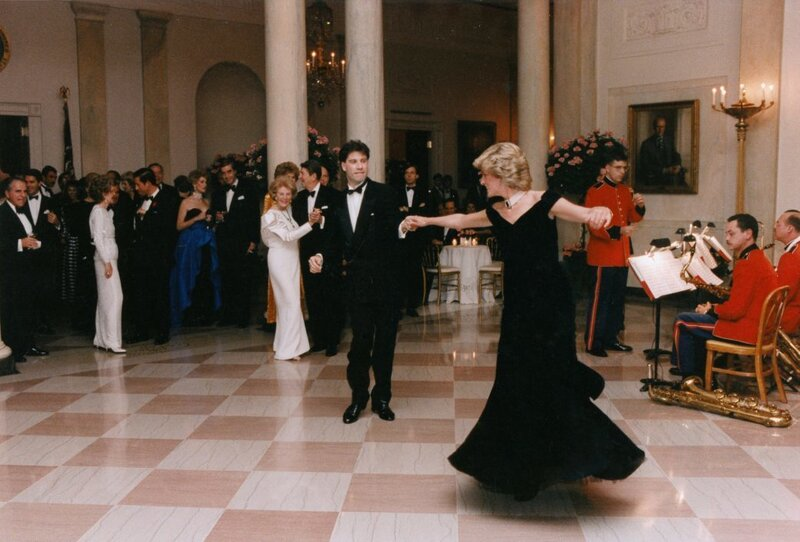 Actor John Travolta dances with Princess Diana during the Reagans' state dinner in November 1985. (Ronald Reagan Presidential Library and Museum/National Archives and Records Administration)