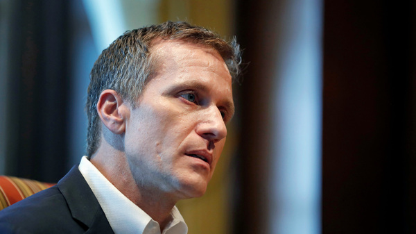 Missouri Gov. Eric Greitens is seen earlier this month discussing a 2015 extramarital affair. He faces a felony charge of invasion of privacy related to the affair and another of computer tampering.