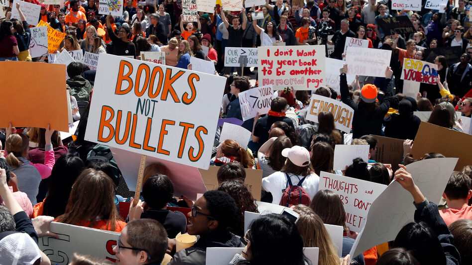 Hundreds of students gather at the State Capitol in St. Paul, Minn., on Friday to protest gun violence, part of a national high school walkout on the 19th anniversary of the Columbine High School shooting. (Jim Mone/AP)