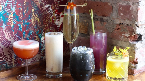 From left: Aladdin Sane, Thin White Duke, Ziggy Stardust, Major Tom, The Man Who Fell to Earth, and Halloween Jack are Bowie-inspired cocktails made by BKW by Brooklyn Winery.