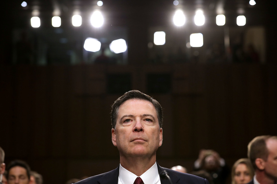Former FBI Director James Comey testifies before the Senate Intelligence Committee on June 8, 2017 in Washington, D.C. (Chip Somodevilla/Getty Images)