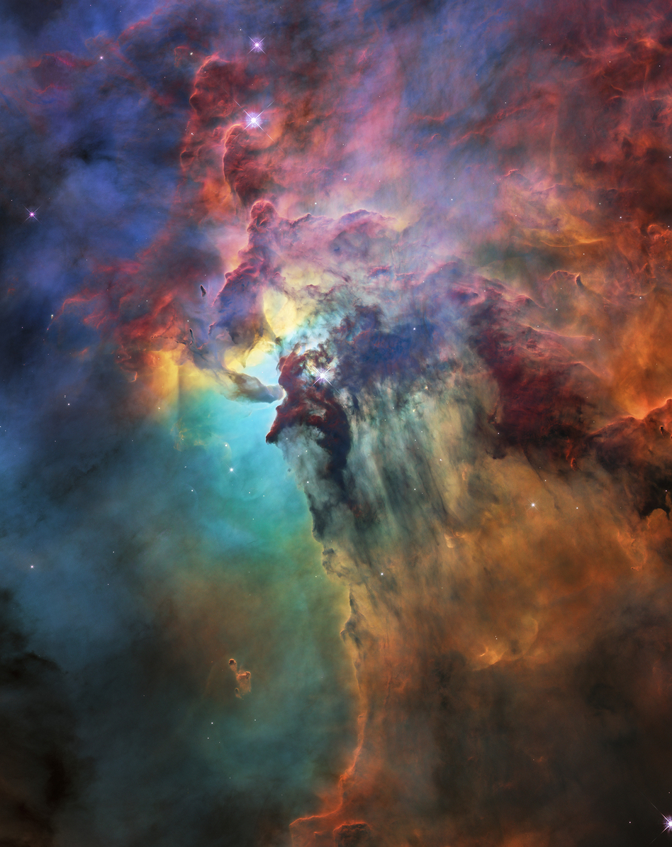 A NASA/ESA Hubble Space Telescope image of the Lagoon Nebula, which is about 4,000 light-years away. It was taken by Hubble's Wide Field Camera 3 in February. The image was released to celebrate the 28th anniversary of Hubble.