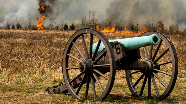 National Park Service wildland firefighters set a prescribed fire in Manassas National Battlefield Park