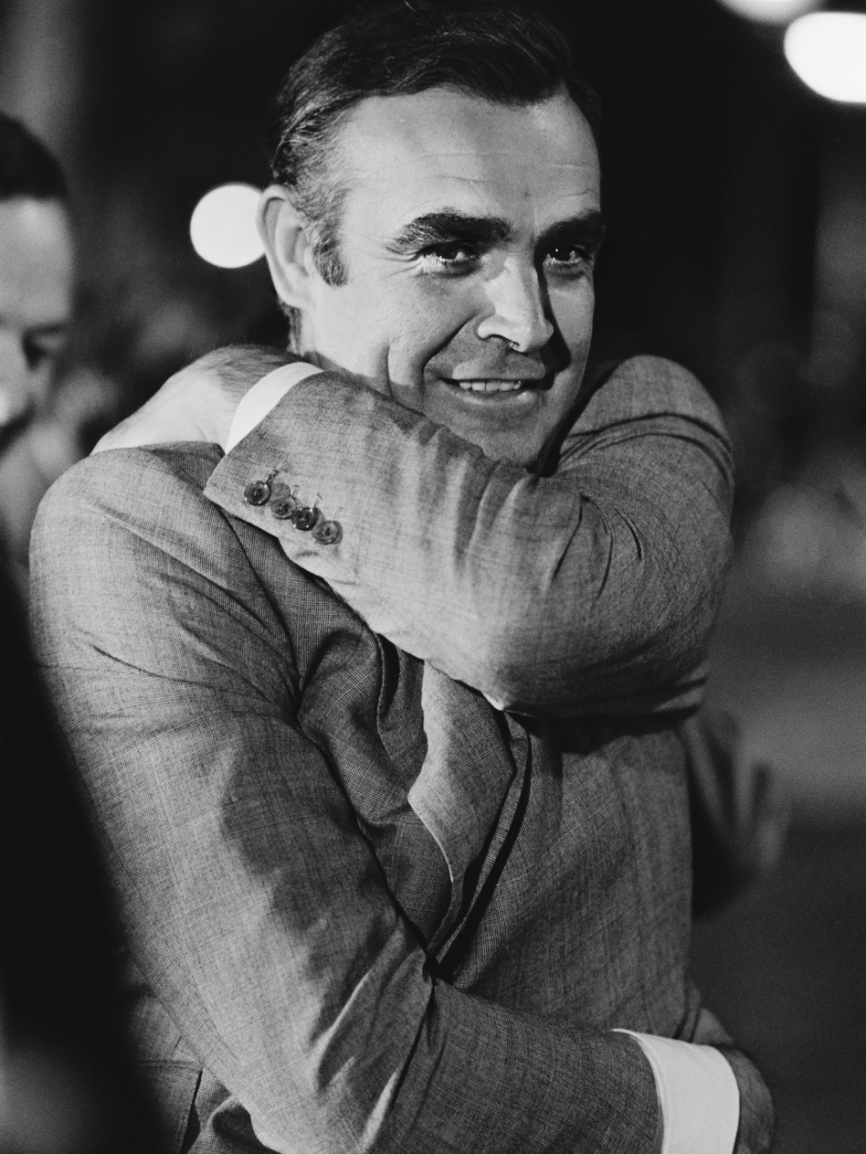 Sean Connery, pictured in Amsterdam during the 1971 filming of <em>Diamonds Are Forever</em>, played James Bond in seven movies. (Jack Kay/Getty Images)