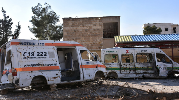 The wreckage of ambulances outside a makeshift hospital used by rebel fighters in Aleppo.