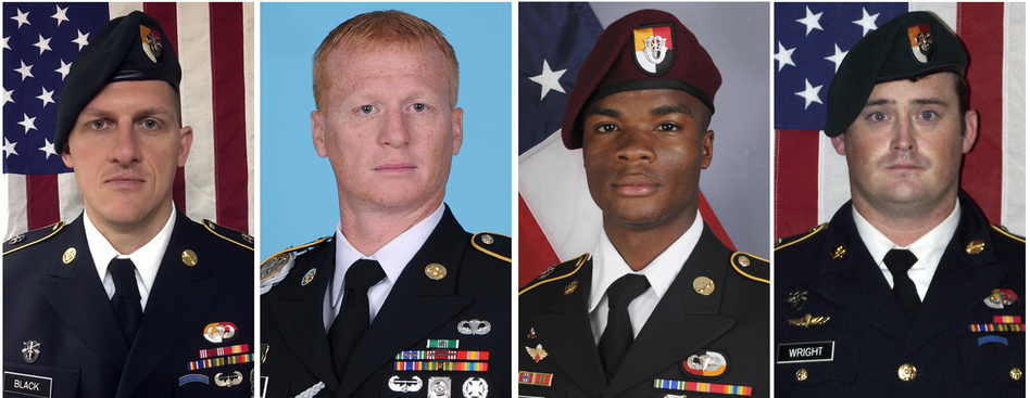 Four American soldiers were killed in Niger last Oct 4. From left, they are Staff Sgt. Bryan C. Black, 35, of Puyallup, Wash.; Staff Sgt. Jeremiah W. Johnson, 39, of Springboro, Ohio; Sgt. La David Johnson of Miami Gardens, Fla.; and Staff Sgt. Dustin M. Wright, 29, of Lyons, Ga. A Pentagon report cites multiple failures with the mission, and the military is now briefing families of those killed. (AP)