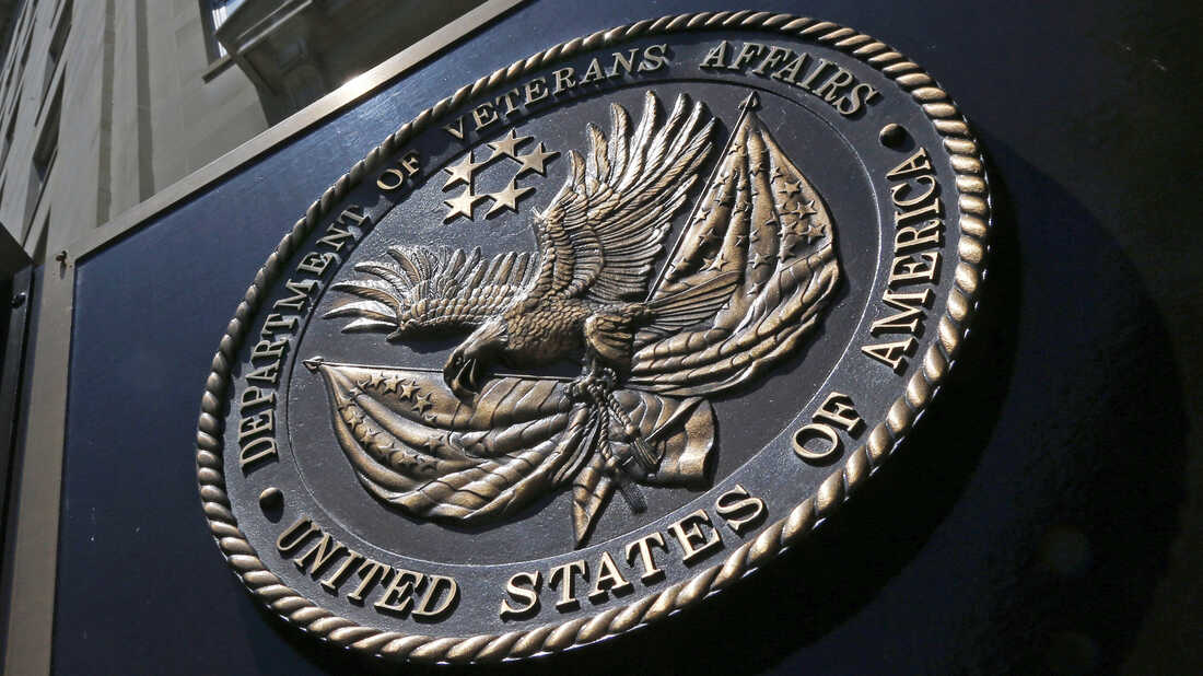 The seal affixed to the front of the Veterans Affairs Department building in Washington.