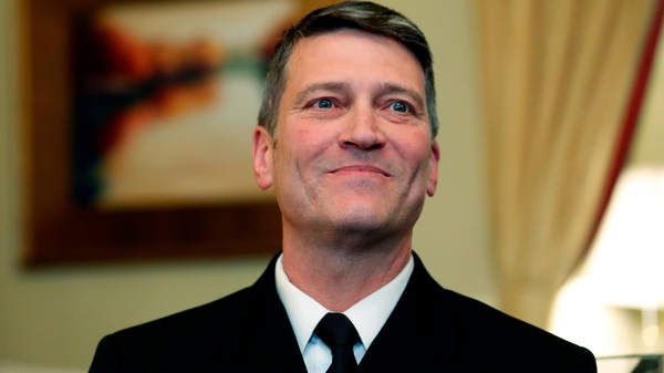 U.S. Navy Rear Adm. Ronny Jackson, M.D., before a meeting on Capitol Hill in Washington, D.C., earlier this month. Jackson, who abandoned his nomination to be secretary of Veterans Affairs amid numerous allegations, will not return to the job of President Trump's personal physician but will remain on the White House medical staff, Politico reported Sunday.