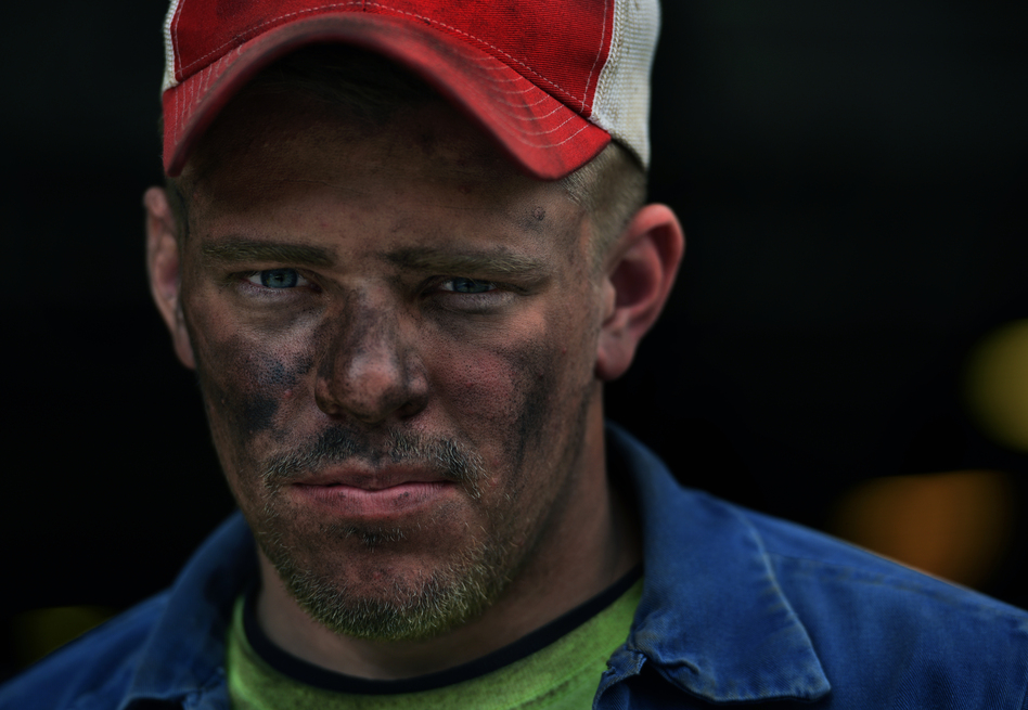 Kyle Johnson, 22, after an overnight shift at a coal mine in Buchanan County, Va.