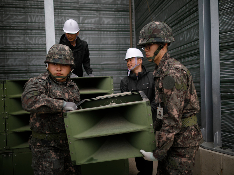 On Tuesday, South Korean soldiers dismantled loudspeakers that broadcast propaganda at the demilitarized zone separating the two Koreas. (Kim Hong-ji/AP)
