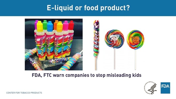 Two U.S. government agencies are warning companies that sell vaping products that their packaging resembles candy and may be in violation of safety and marketing guidelines because of its possible appeal to teens and children.