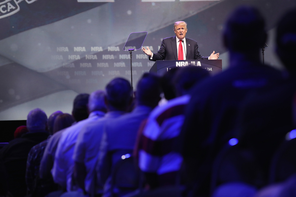 Then-presidential candidate Donald Trump speaks at the National Rifle Association's convention in May 2016 in Louisville, Ky. (Scott Olson/Getty Images)