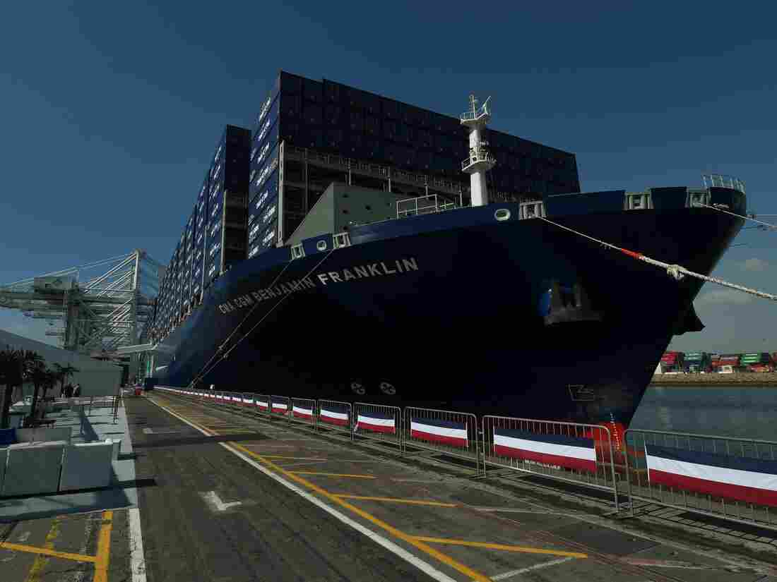The CMA CGM Benjamin Franklin is the largest vessel ever to call at a port in the United States and is 1,300-foot long with a capacity of 18,000 containers.