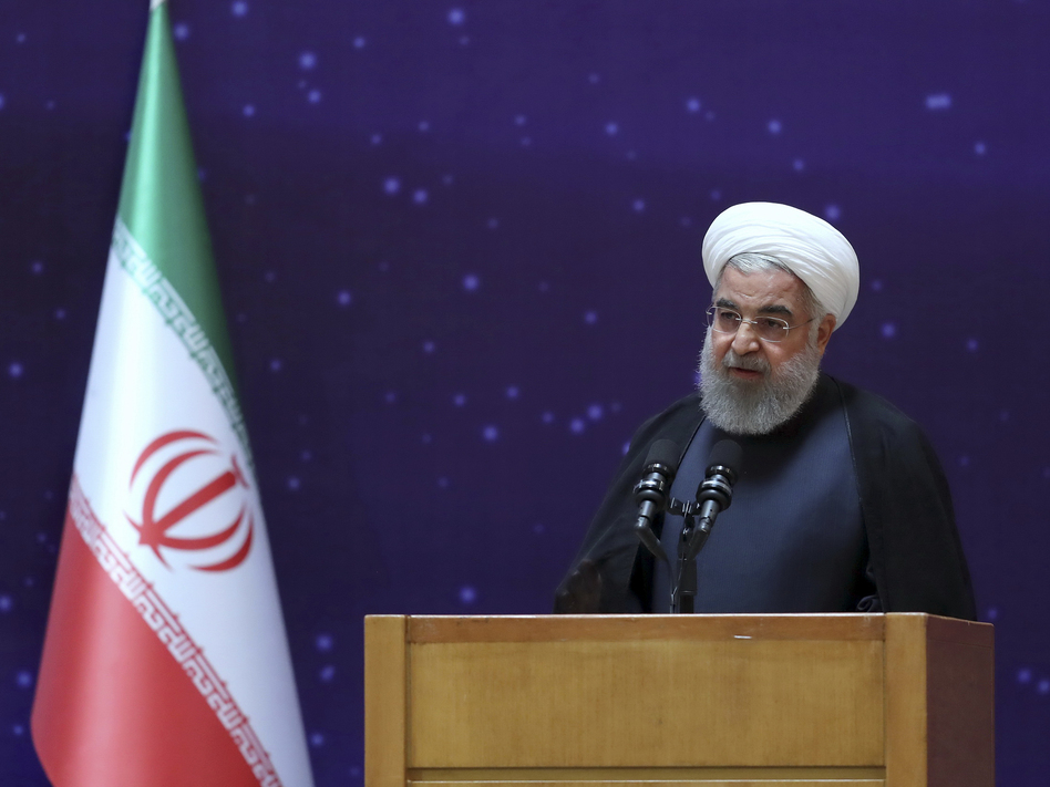 President Hassan Rouhani speaks in a ceremony to mark Iran's National Nuclear Day, dedicated to the country's achievements in nuclear technology, in Tehran on April 9. (Office of the Iranian Presidency via AP)
