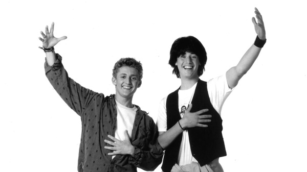 Alex Winter (left) and Keanu Reeves in a promotional photo for Bill & Ted's Excellent Adventure in 1989.