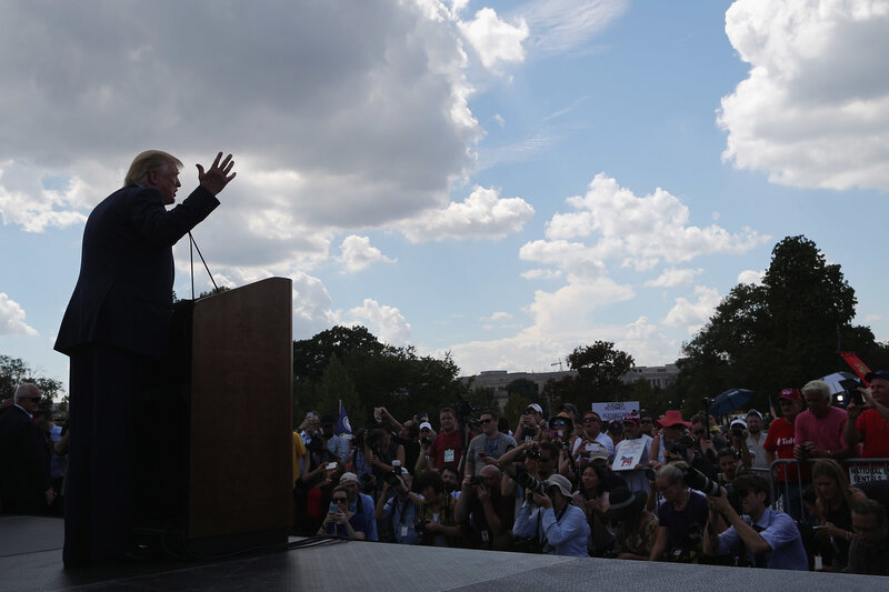 Then-presidential candidate Donald Trump addresses a rally against the Iran nuclear deal on the West Lawn of the U.S. Capitol on September 9, 2015, in Washington, D.C. (Chip Somodevilla/Getty Images)