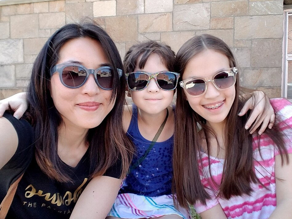 Christine Koh and her daughters.