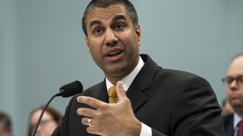 """""""The Internet wasn't broken in 2015,"""" FCC Chairman Ajit Pai says, referring to the year when net neutrality rules were adopted. Pai is seen here speaking to the House Appropriations Committee earlier this year. (Alex Edelman/Getty Images)"""