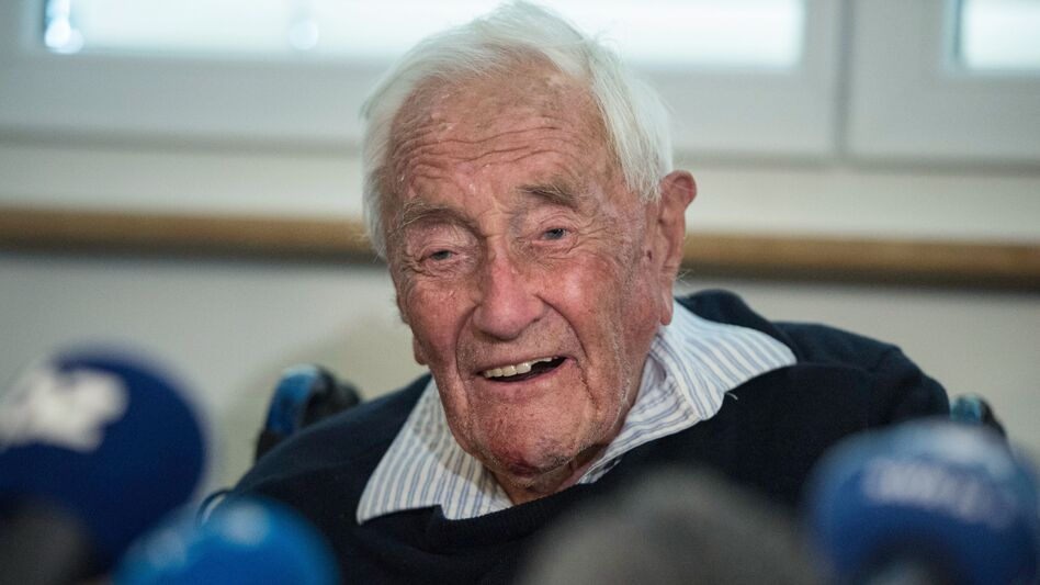 Australian scientist David Goodall attends a press conference on Wednesday on the eve of his assisted suicide in Basel. (Sebastien Bozon/AFP/Getty Images)