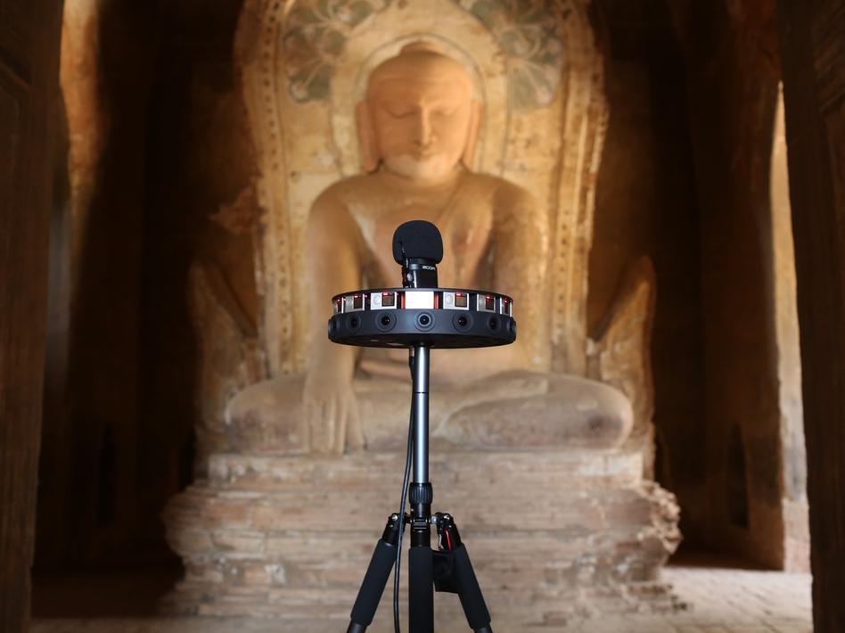 A 360-degree camera is used to document the Khe Min Ga Zedi temple in Bagan, Myanmar. (Kieran Kesner for CyArk)