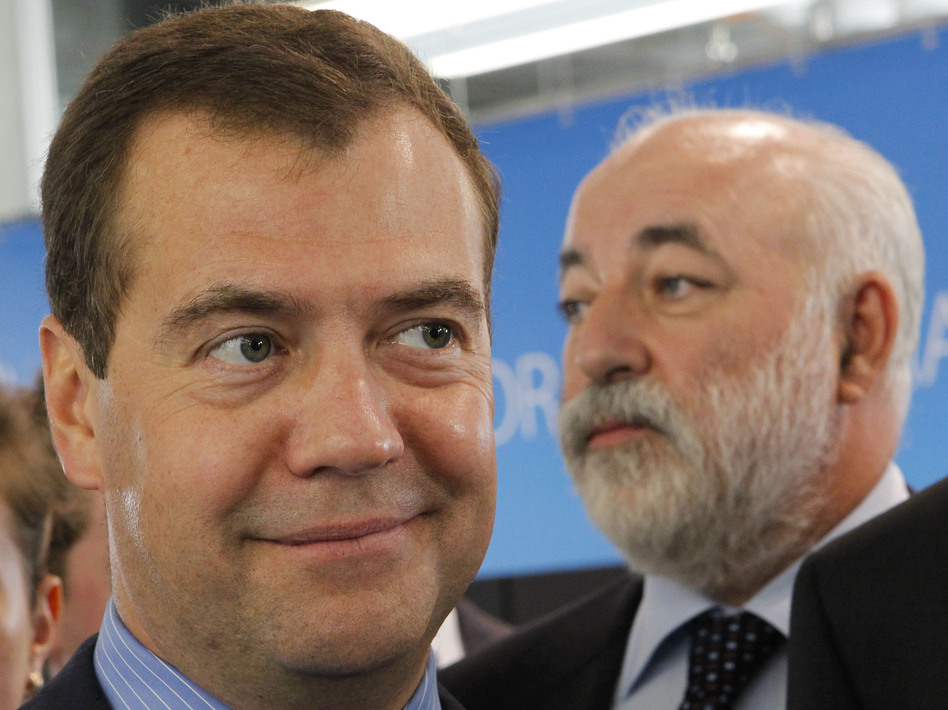 Russia's Prime Minister Dmitry Medvedev, left, and billionaire  Viktor Vekselberg, launched a foundation that the FBI warned was a clandestine attempt to pilfer American technical secrets. (Maxim Shemetov/AP)