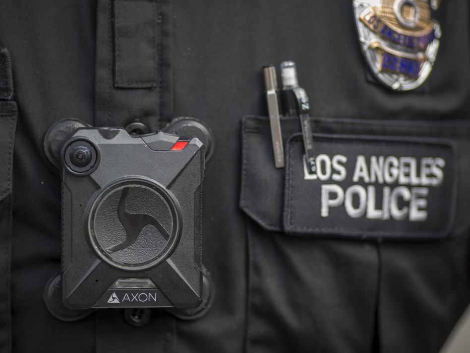 An Axon body camera worn by an officer with the Los Angeles Police Department. (David McNew/Getty Images)