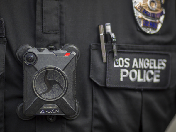 An Axon body camera worn by an officer with the Los Angeles Police Department.