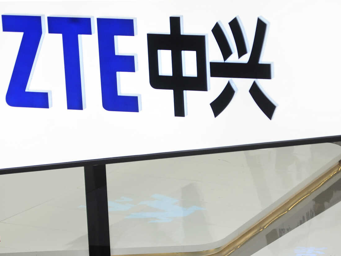 A sign for the ZTE booth is seen at the Mobile World Congress, the world's largest mobile phone trade show in Barcelona, Spain, in 2014.