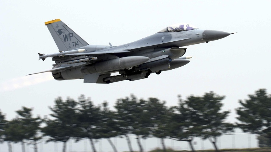 A U.S. Air Force F-16 fighter takes off during annual exercises with South Korea at a U.S. air base in Gunsan, South Korea, in April. North Korea implied the summit with President Trump could be canceled because of the exercises. (Go Bum-jun/AP)