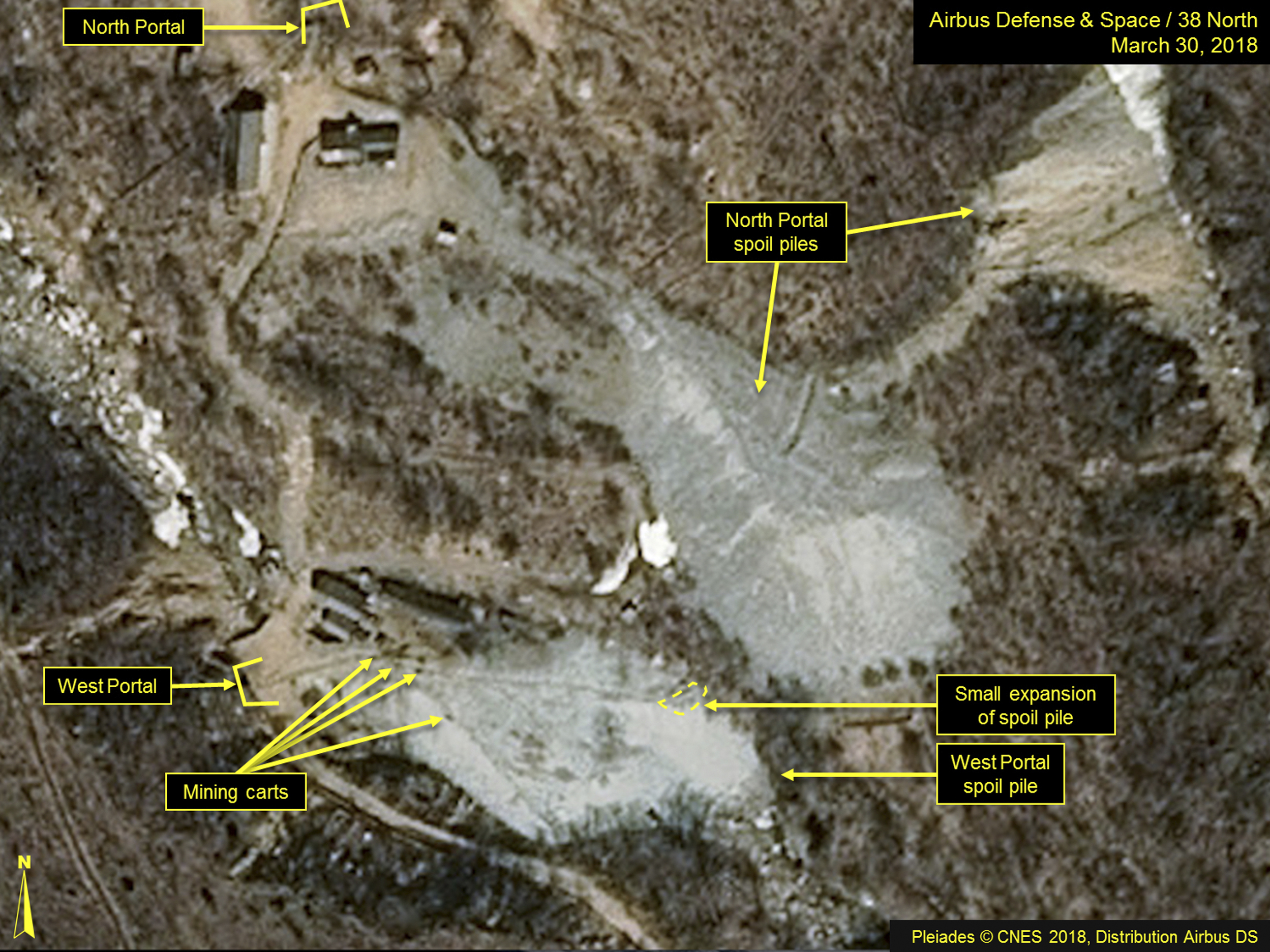 A satellite image released and notated by Airbus Defense & Space and 38 North on March 30 shows the Punggye-ri nuclear test site in North Korea.