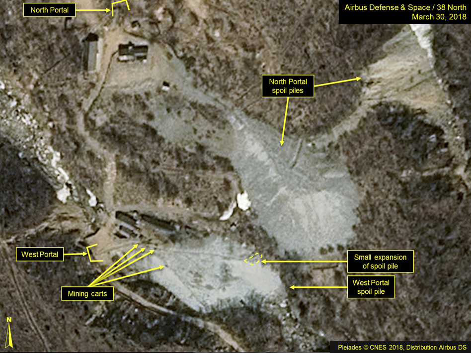 A satellite image released and notated by Airbus Defense & Space and <em>38 North</em> on March 30 shows the Punggye-ri nuclear test site in North Korea. (Airbus Defense and Space/38 North via AP)