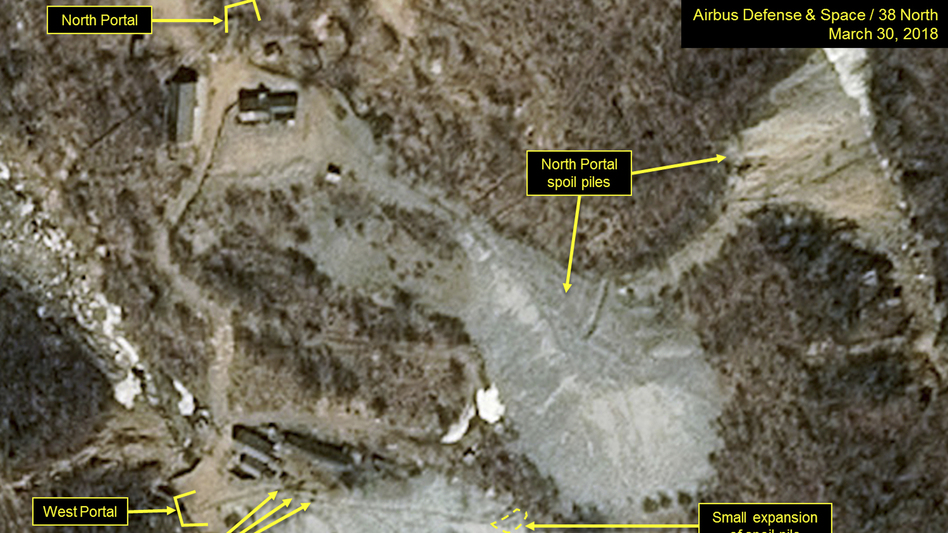 A satellite image released and notated by Airbus Defense & Space and <em>38 North</em> on March 30 shows the Punggye-ri nuclear test site in North Korea.