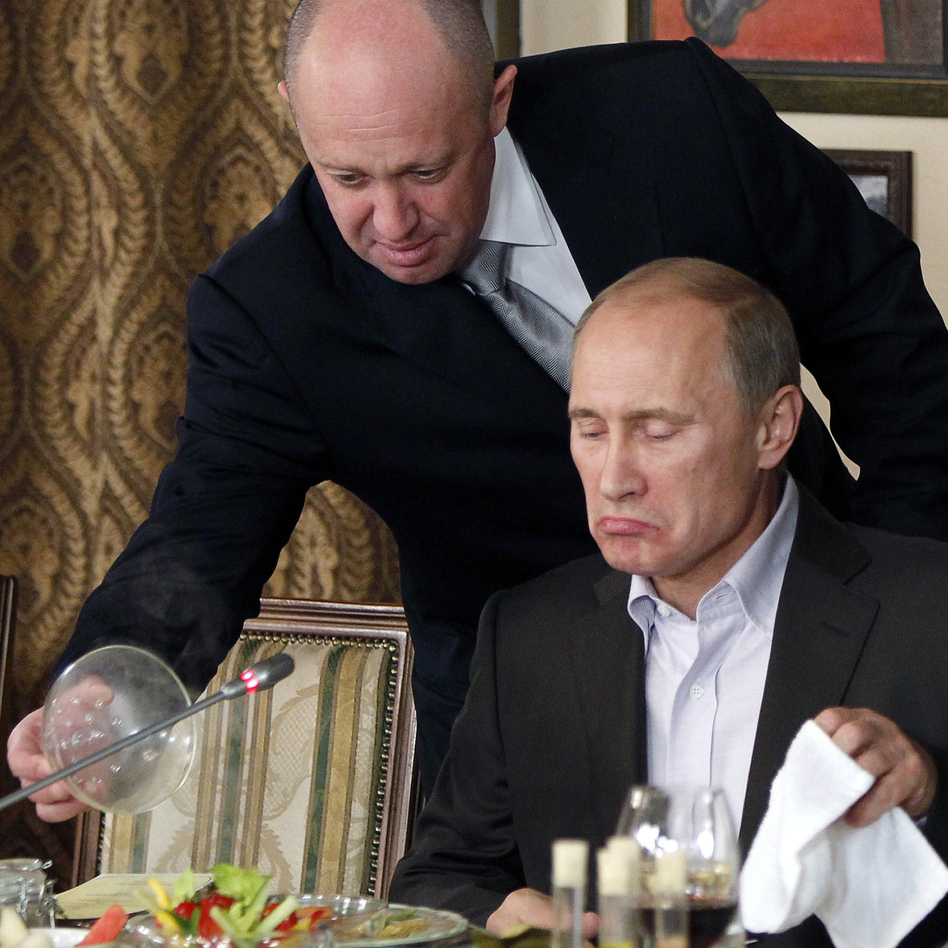 "An attorney defending Yevgeny Prigozhin, left, dubbed the ""cook"" to Russian Prime Minister Vladimir Putin, said he intended to fight vigorously against charges brought by the special counsel's office. (Misha Japaridze/AP)"