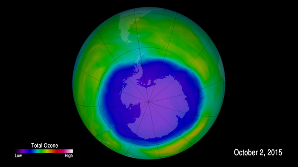 An image provided by NOAA shows the ozone hole in 2015. NOAA scientists now say emissions of one ozone-depleting chemical appear to be rising, even though the chemical has been banned and reported production has been at zero for years.