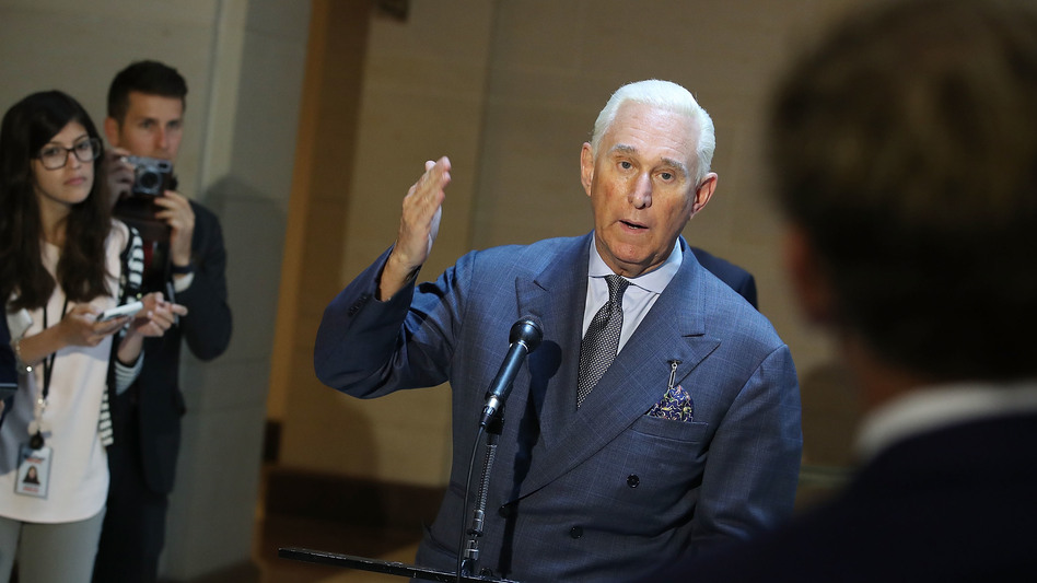 Roger Stone speaks to the media after appearing before the House intelligence committee in a closed-door hearing on September 26, 2017, in Washington, D.C. (Mark Wilson/Getty Images)