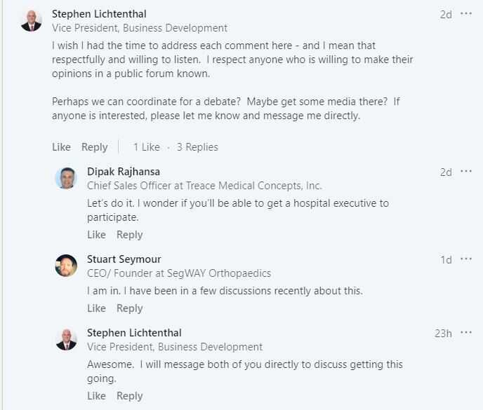Stephen Lichtenthal went on LinkedIn to ask for a debate on medical device prices.